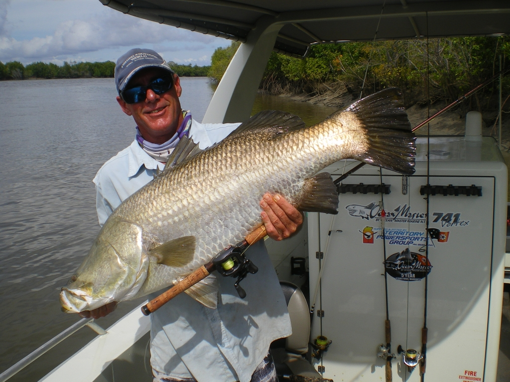 Top Barra Lodge guide Robbo Robinson scored this well-conditioned 107cm barra.